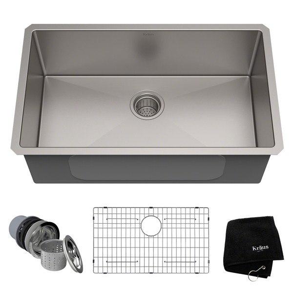 kraus khu100 30 30 inch undermount single bowl 16 gauge stainless steel kitchen sink - Stainless Steel Kitchen Sink Gauge