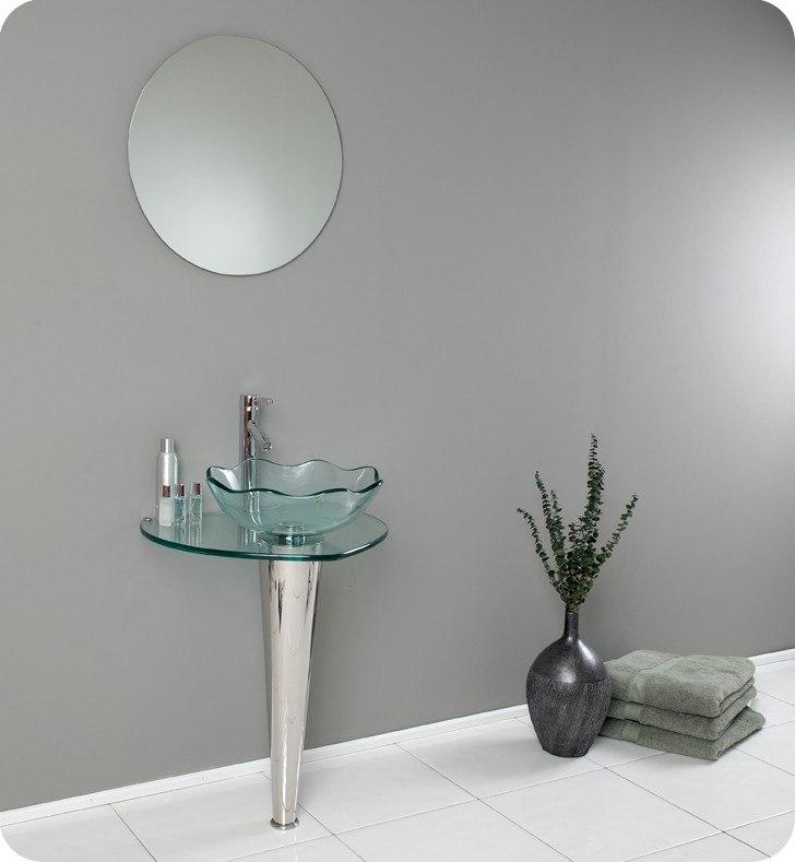 Fresca FVN1036 Netto 24 Inch Modern Glass Bathroom Vanity w  Wavy Edge  Vessel Sink. Fresca FVN1036 Netto 24 Inch Modern Glass Bathroom Vanity w  Wavy