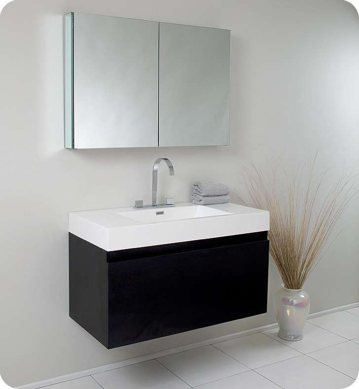 Fresca Fvn8010bw Mezzo 39 Inch Black Modern Bathroom Vanity W Medicine Cabinet