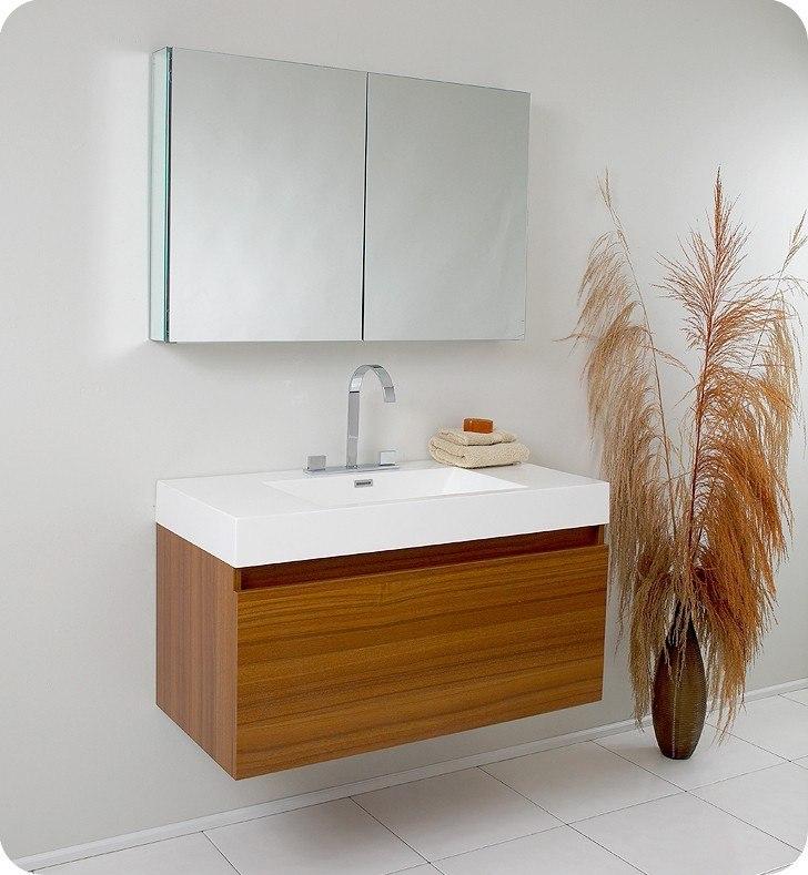Fresca FVNTK Mezzo Inch Teak Modern Bathroom Vanity W - 39 bathroom vanity cabinet