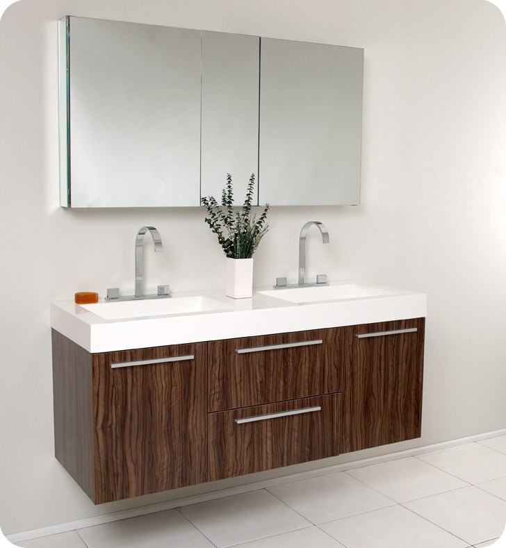 Fresca FVN8013GW Opulento 54 Inch Walnut Modern Double Sink Bathroom Vanity W Medicine Cabinet