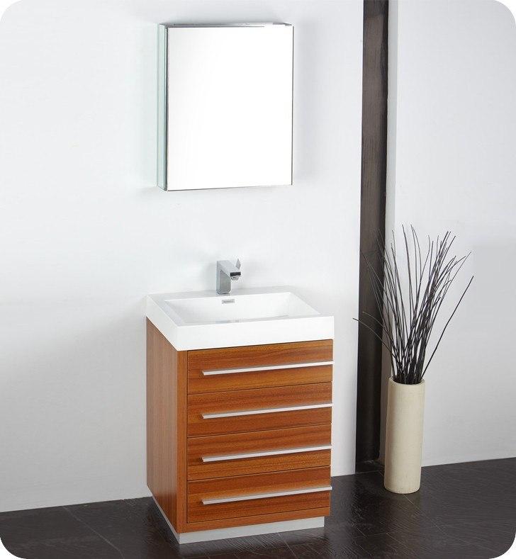 Fresca Fvn8024tk Livello 23 38 Inch Teak Modern Bathroom Vanity W Medicine Cabinet