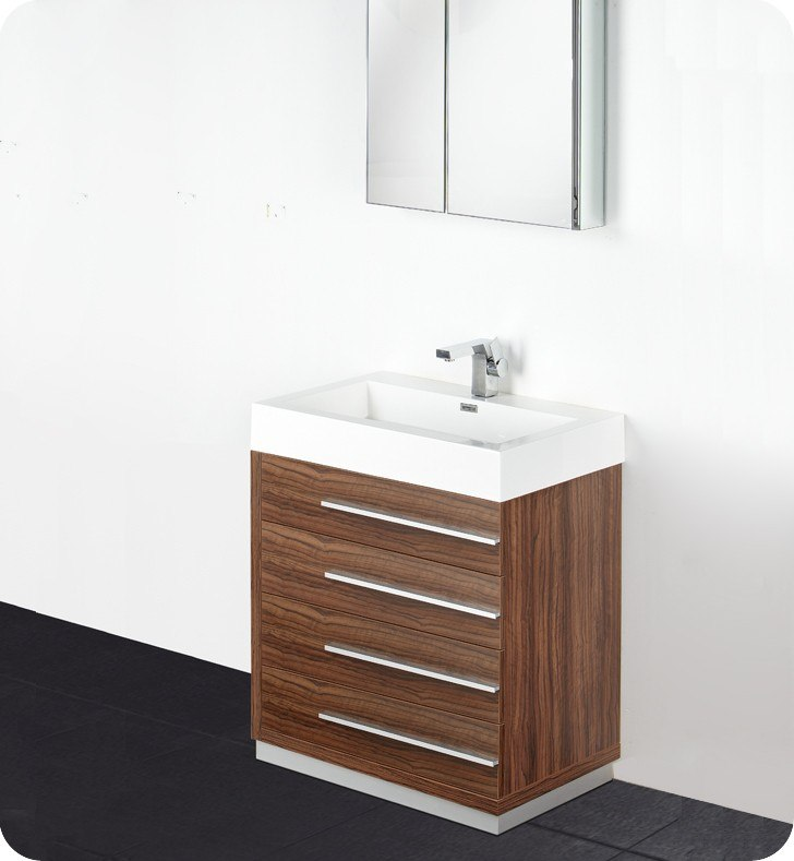 Fresca Livello Inch Walnut Modern Bathroom Vanity