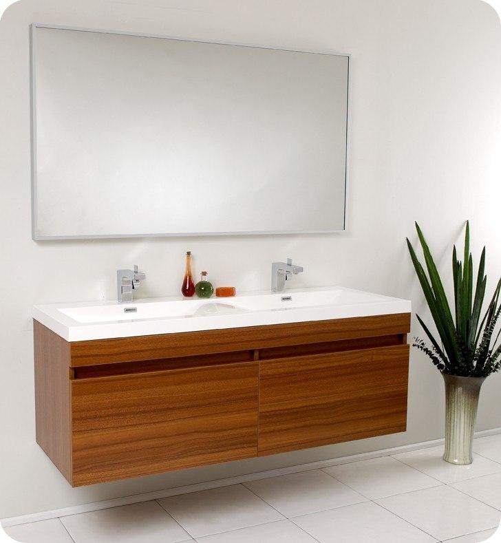 Fresca FVN8040TK Largo 56 63 Inch Teak Modern Bathroom Vanity w  Wavy  Double Sinks  Fresca Vanity  Fresca Bathroom. Fresca FVN8040TK Largo 56 63 Inch Teak Modern Bathroom Vanity w