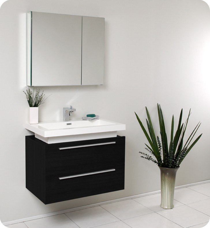 Fresca FVN8080BW Medio 31 38 Inch Black Modern Bathroom Vanity w  Medicine  Cabinet  Fresca Vanity  Fresca Bathroom. Fresca FVN8080BW Medio 31 38 Inch Black Modern Bathroom Vanity w