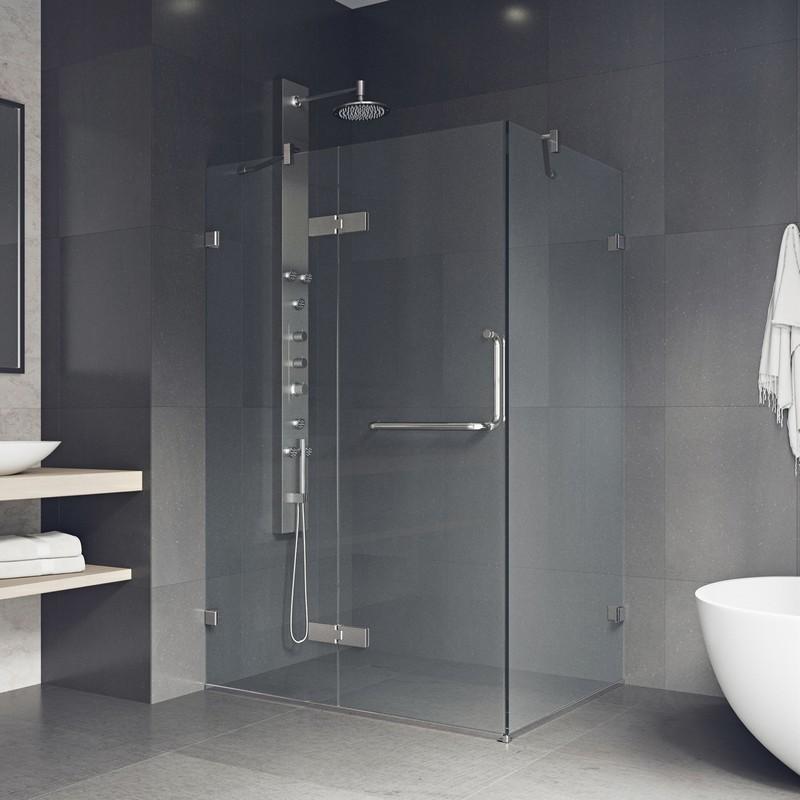 Vigo Vg6011chcl48 Frameless 48 Inch Tempered Glass Shower Enclosure