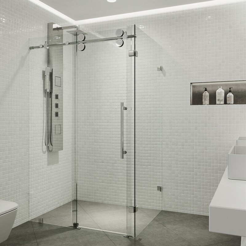 Vigo VG6051CHCL60 Rectangular 60 Inch Tempered Glass Shower ...