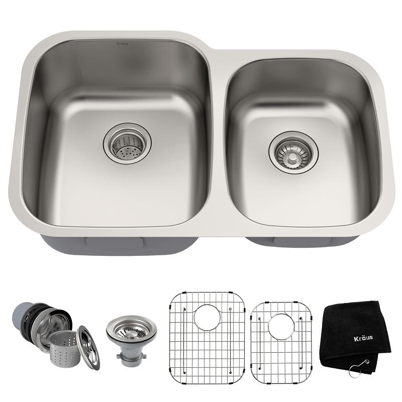 Kraus KBU24 32 Inch Undermount 60/40 Double Bowl 16 Gauge Stainless on best 16-gauge kitchen sink, large stainless sink, elkay undermount sink, 60 40 stainless sink, double kitchen sink, triple bowl kitchen sink, small round prep sink, laminate undermount sink, blanco 40 60 sink, stainless steel deep sink, offset kitchen sink, 24 double bowl undermount sink, 24 kitchen sink, mosaic tile sink, 60 40 integrated kitchen sink, low divide sink, upc sink, double bowl apron front sink, extra large kitchen sink,