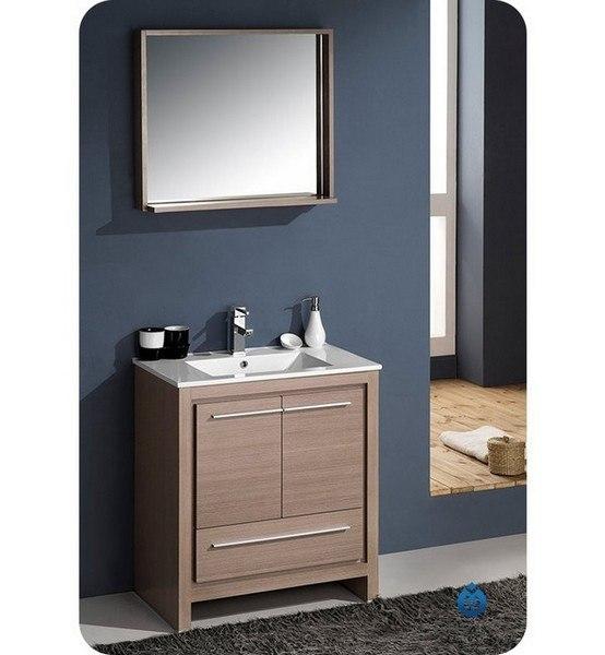 Fresca FVN8130GO Allier 29 5 Inch Gray Oak Modern Bathroom Vanity w   Mirror  Fresca Vanity  Fresca Bathroom Vanity. Fresca FVN8130GO Allier 29 5 Inch Gray Oak Modern Bathroom Vanity