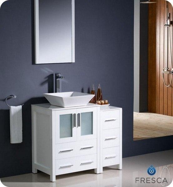 Fvn62 2412wh Vsl Torino 36 Inch White Modern Bathroom Vanity W Side