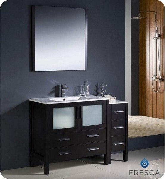 espresso modern bathroom vanity w side cabinet undermount sinks