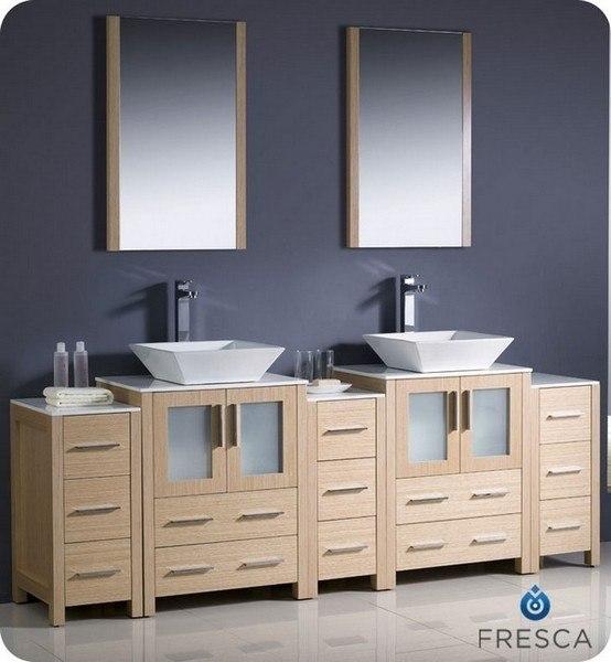 double sink bathroom vanity w 3 side cabinets vessel sinks