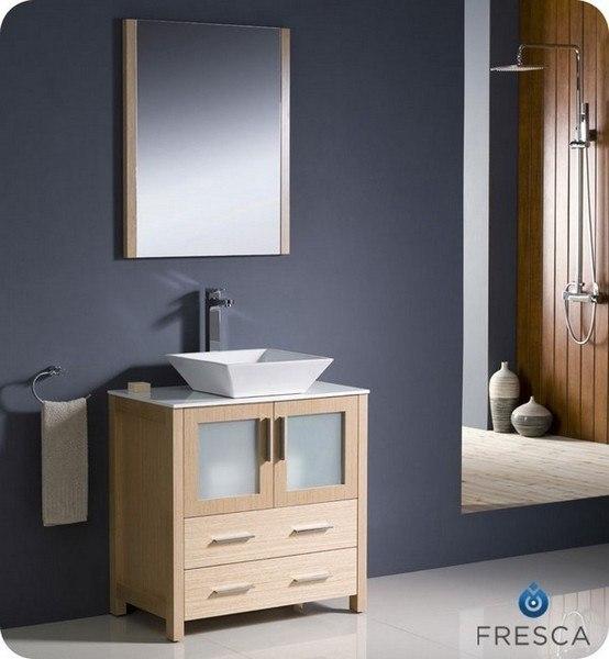 Fvn6230lo Vsl Torino 30 Inch Light Oak Modern Bathroom Vanity W