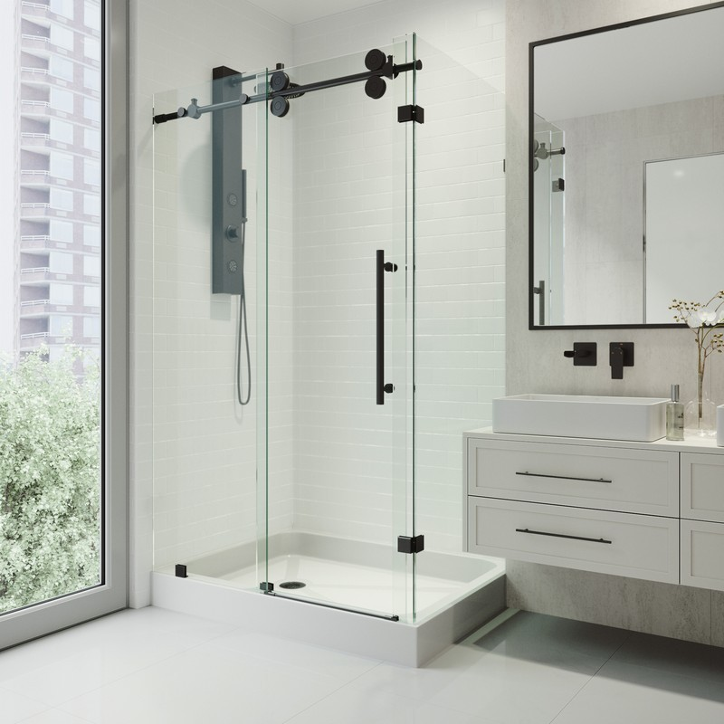 Vigo vg6051 36x48w rectangular 48 inch tempered glass shower enclosure with base vg6051chcl48wl - Shower stall small space pict ...