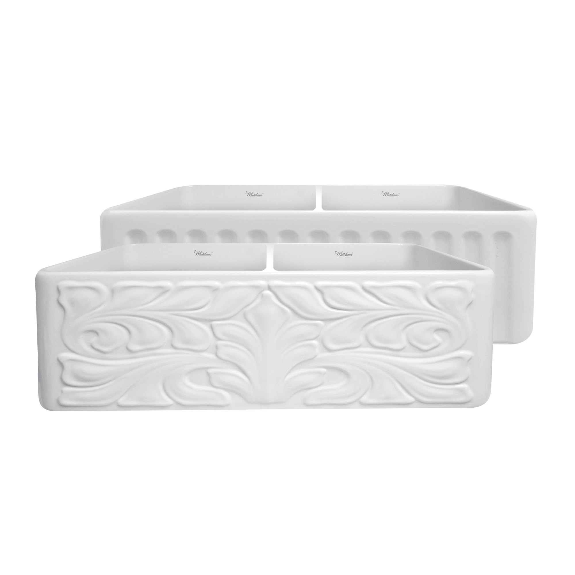 Fire Clay Sinks : ... 33 Inch Double Bowl Fireclay Sink w/ A Gothic Swirl Design Front