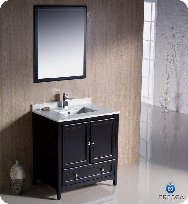 fresca fvn2030es oxford 30 inch espresso traditional bathroom vanity - Bathroom Vanity 30 Inch