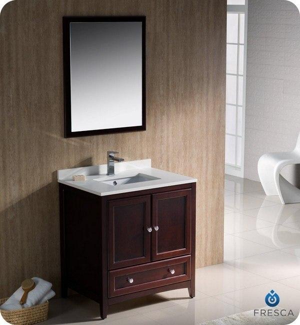 fresca fvn2030mh oxford 30 inch mahogany traditional bathroom vanity
