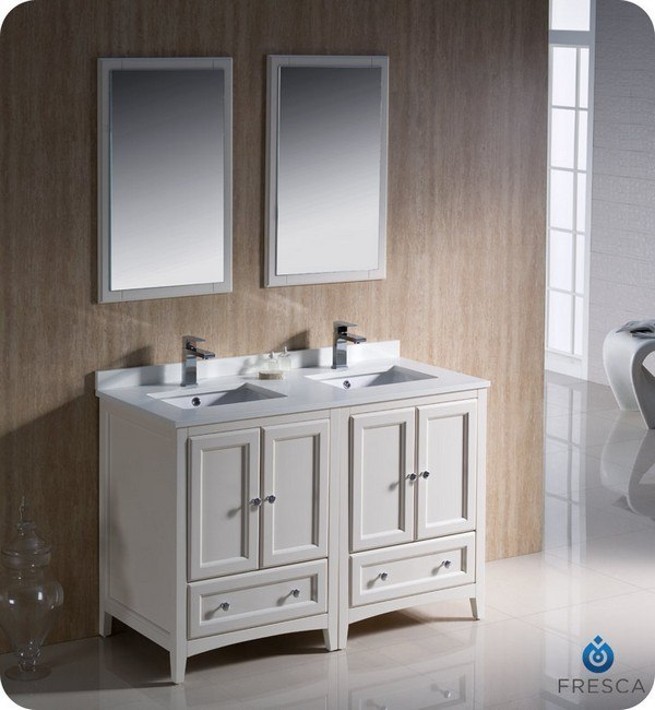 48 inch bathroom vanity double sink. Fresca FVN20 2424AW Oxford 48 Inch Antique White Traditional Double Sink  Bathroom Vanity