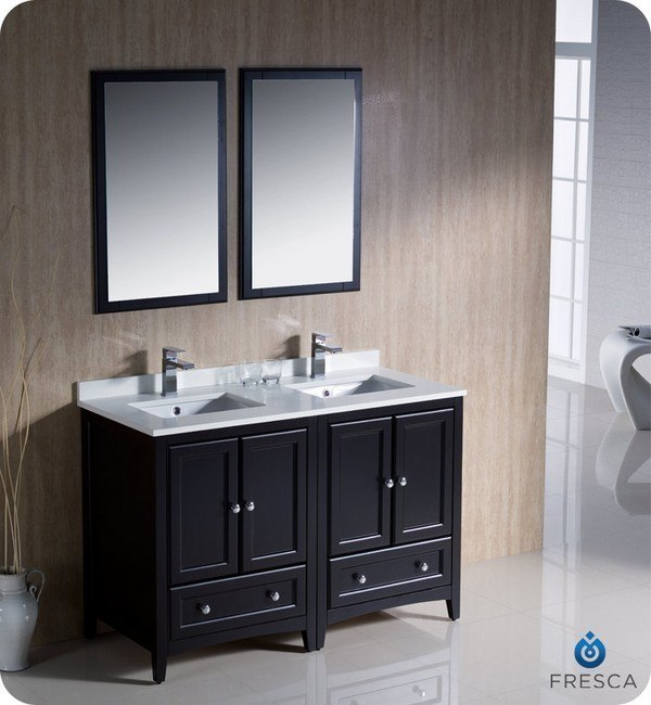 Fresca FVNES Oxford  Inch Espresso Traditional Double - 48 inch double vanity sink