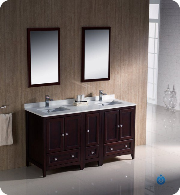 oxford 60 inch mahogany traditional double sink bathroom vanity