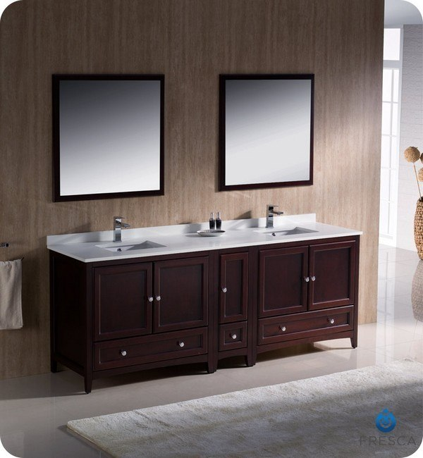 Fresca FVN20 361236MH Oxford 84 Inch Mahogany Traditional Double Sink Bathroo