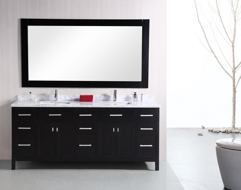 Design Element DEC088 London 78 Inch Double Sink Vanity Set In Espresso