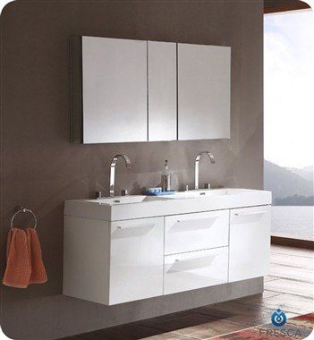 fresca fvn8013wh opulento 54 inch white modern double sink