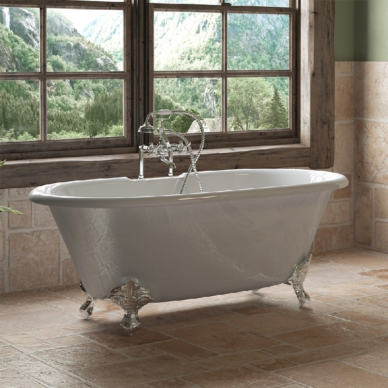 Cambridge Plumbing DE 60 Cast Iron Double Ended Clawfoot Tub 60 X 30 Inch Wit