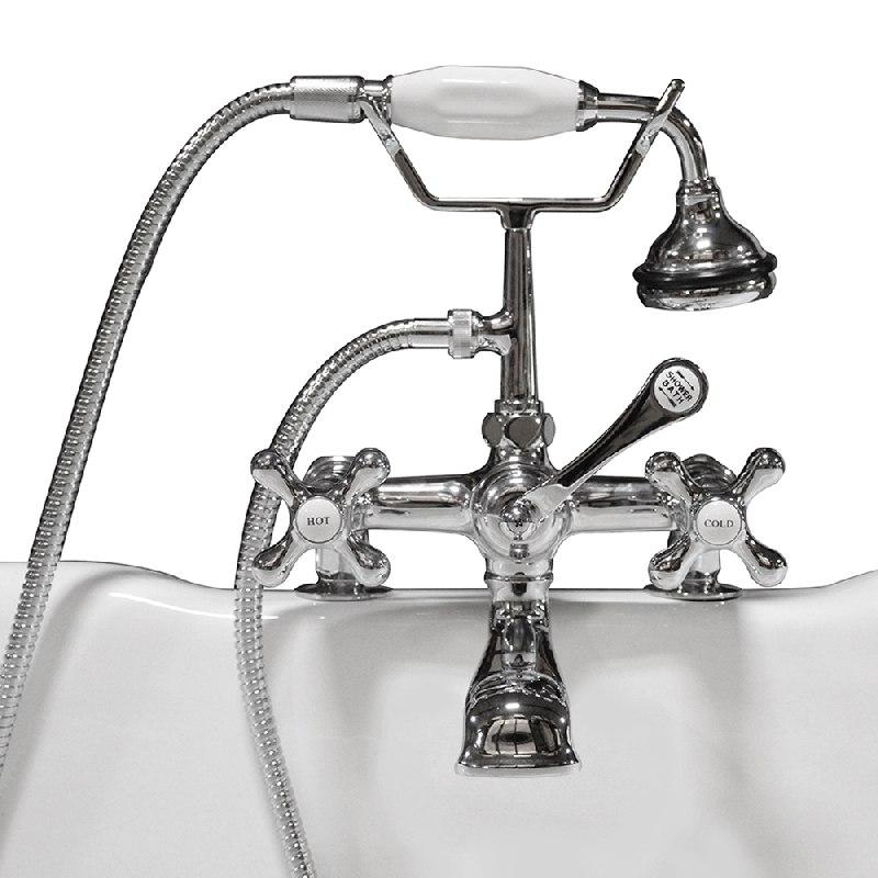 Cambridge Plumbing CAM463 Clawfoot Tub Deck Mount Brass Faucet With Hand Held