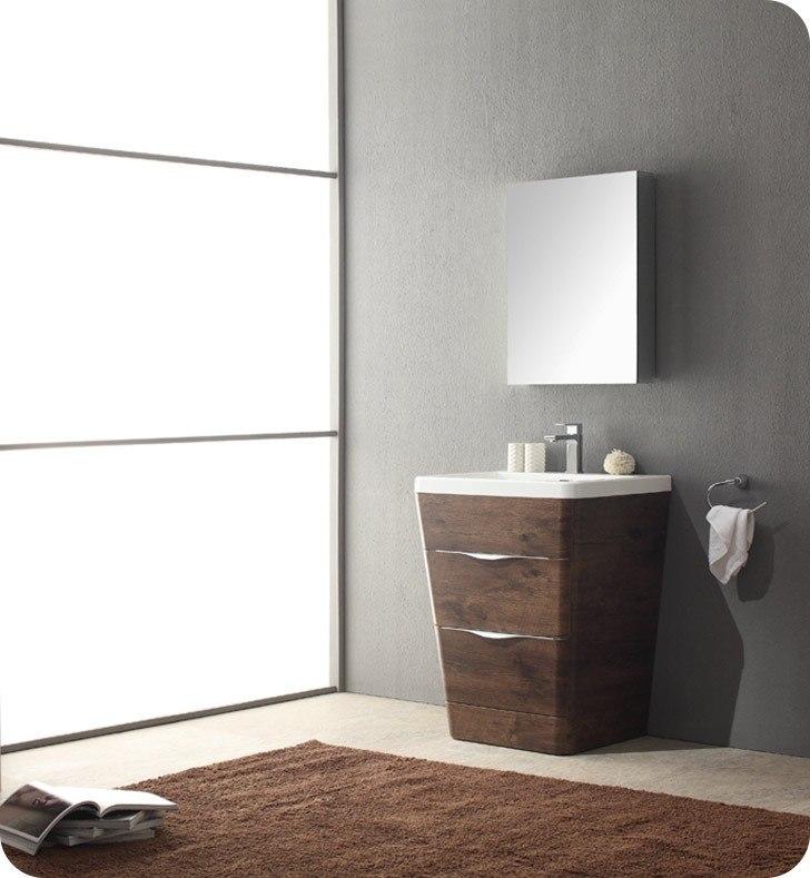 Fresca Fvn8525rw Milano 26 Inch Rosewood Modern Bathroom Vanity W
