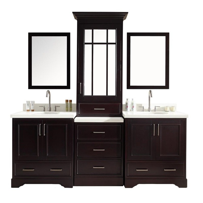Ariel M085D ESP Stafford 85 Inch Double Sink Vanity Set In Espresso With Cent