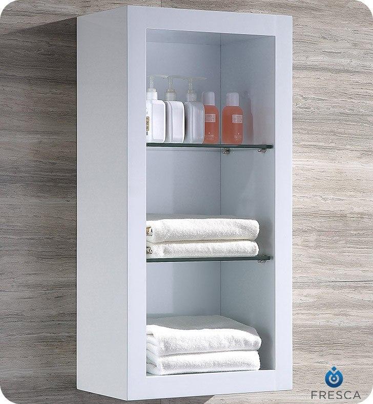 fst8130wh allier white bathroom linen side cabinet w 2 glass shelves