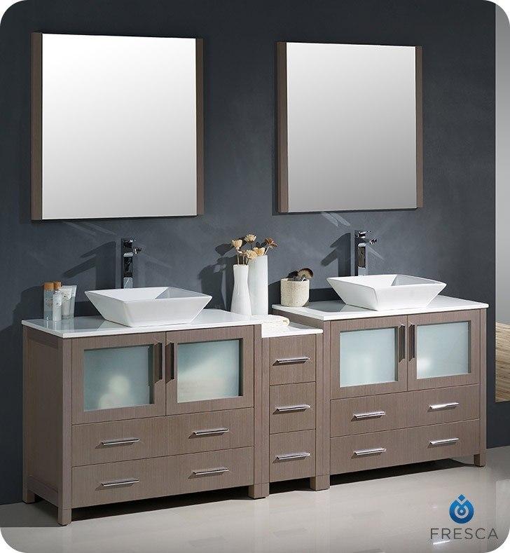 Fresca Fvn62 361236go Vsl Torino 84 Inch Gray Oak Modern Double Sink Bathroom Vanity W Side