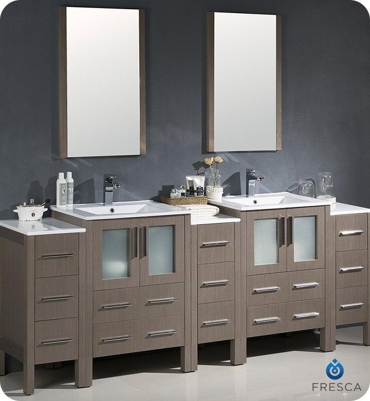 Fresca FVN62-72GO-UNS Torino 84 Inch Gray Oak Modern Double Sink Bathroom Vanity