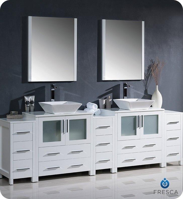 Fresca Fvn62 96wh Vsl Torino 96 Inch White Modern Double Sink Bathroom Vanity W 3 Side Cabinets