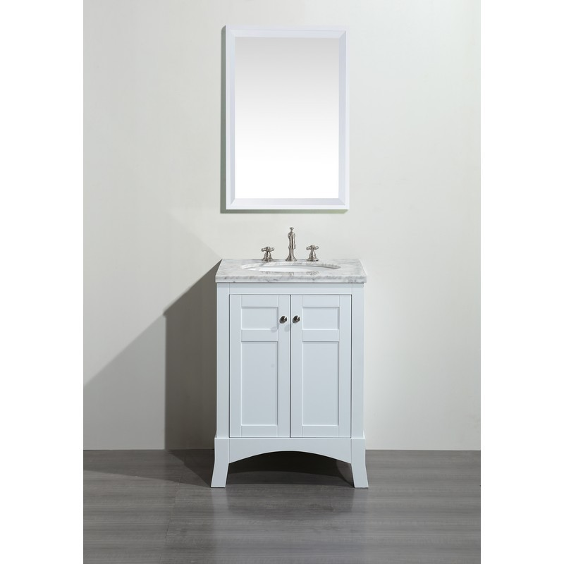 Eviva Evvn514 24wh New York 24 Inch White Bathroom Vanity With Marble Carrera