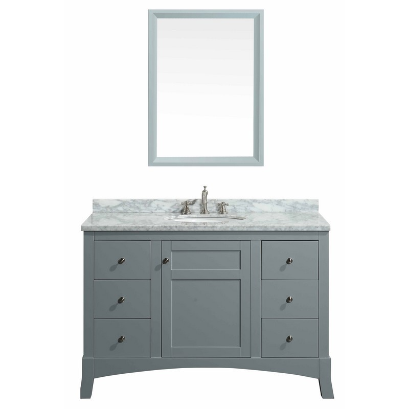 48 inch grey bathroom vanity with white marble carrera counter top