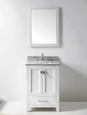 Eviva Evvn199 24wh Aberdeen 24 Transitional White Bathroom Vanity With Carrera Countertop