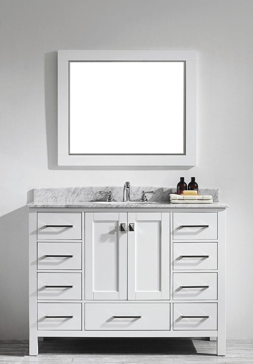 Eviva Evvn199 48wh Aberdeen 48 Transitional White Bathroom Vanity With Carrera Countertop