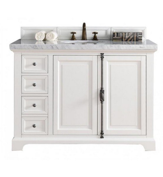 48 inch cottage white single vanity with galala beige stone top