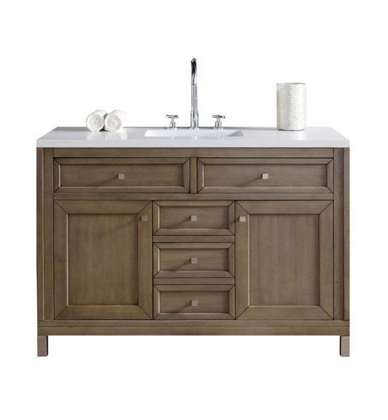 48 inch white washed walnut single vanity with santa cecilia stone top