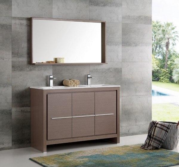 Fresca FVN8148GO D Trieste Allier 48 Inch Gray Oak Modern Double Sink Bathroo