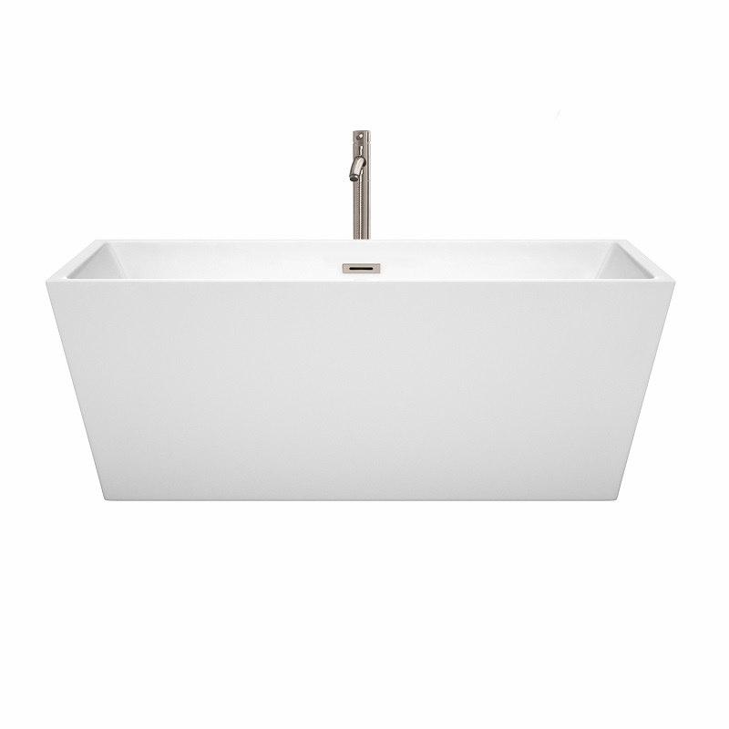 Wyndham Collection WCBTK151463ATP11PC Sara 63 Inch Freestanding Bathtub In Wh