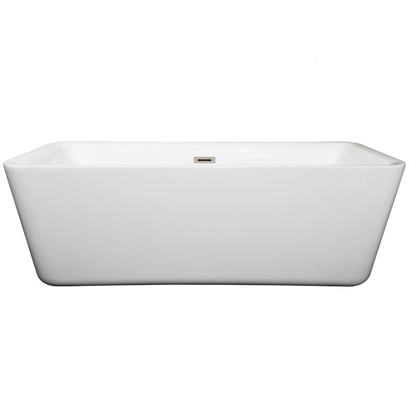 Wyndham Collection WCOBT100169BNTRIM Emily 69 Inch Freestanding Bathtub In Wh