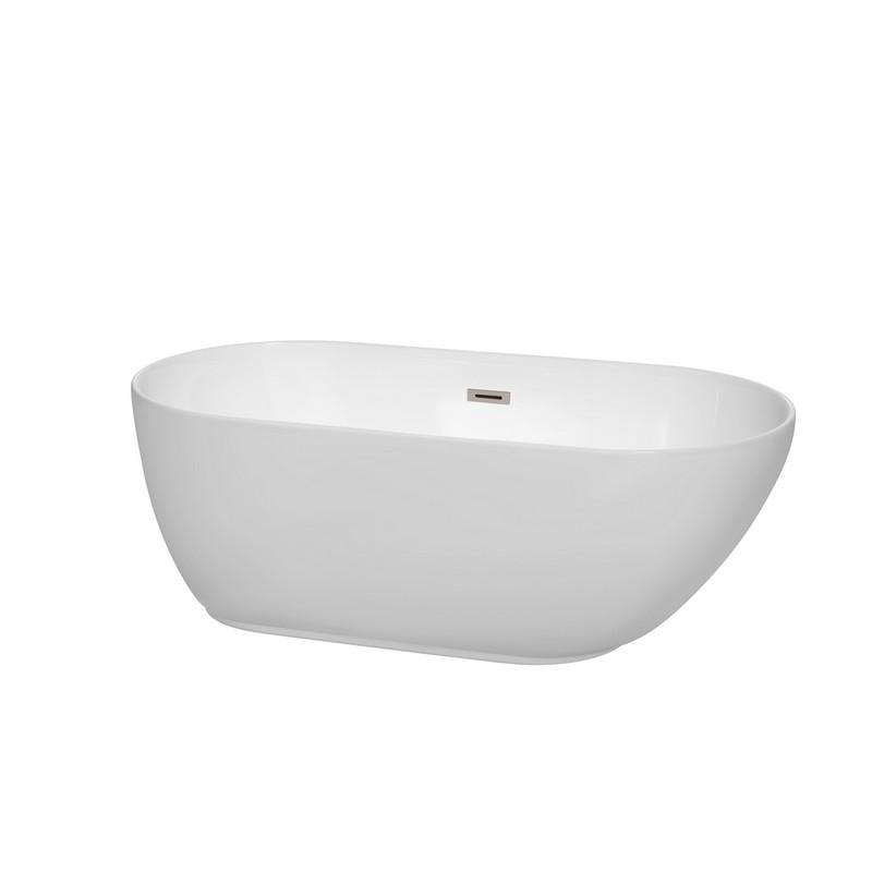 Wyndham Collection WCOBT100060BNTRIM Melissa 60 Inch Freestanding Bathtub In