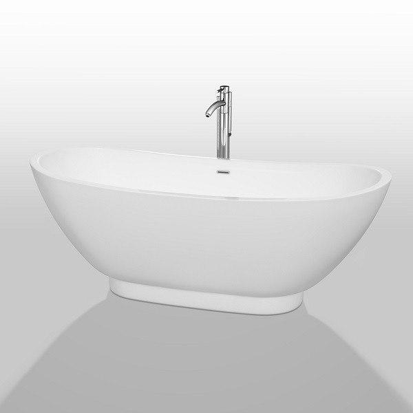 Wyndham Collection WCBTO85769ATP11 Clara 69 Inch Freestanding Bathtub In Whit