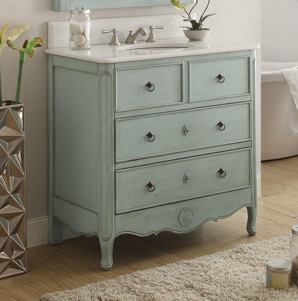 Chans Furniture HF081LB Daleville 34 Inch Distressed Blue Bathroom Sink Vanity