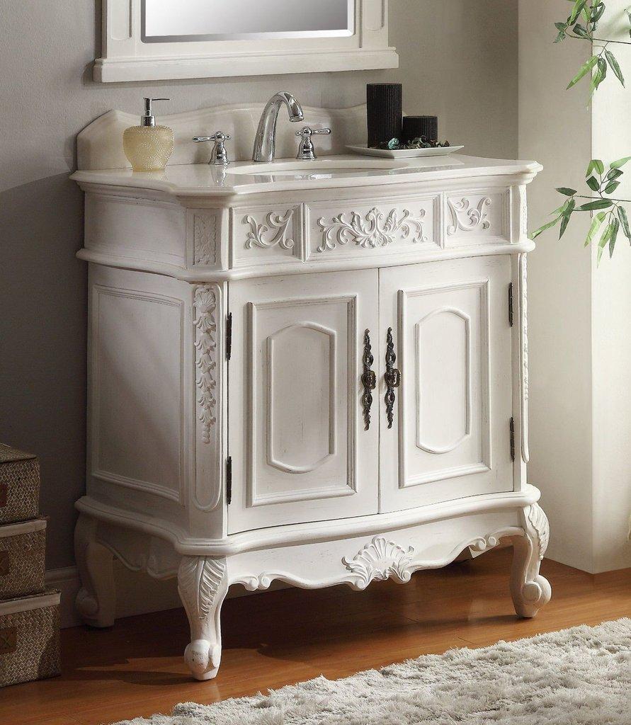 Chans Furniture HF021W-AW Benson 33 Inch Antique White Bathroom Sink Vanity - Chans Furniture HF021W-AW Benson 33 Inch Antique White Bathroom Sink