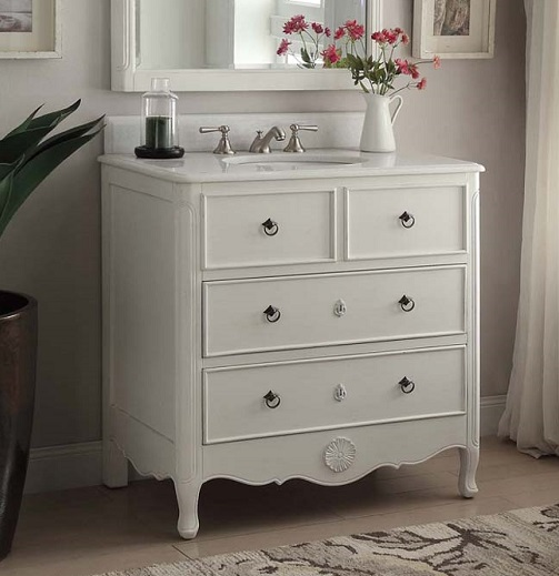 Chans Furniture HF081AW Daleville 34 Inch Antique White Bathroom Sink Vanity - Chans Furniture HF081AW Daleville 34 Inch Antique White Bathroom