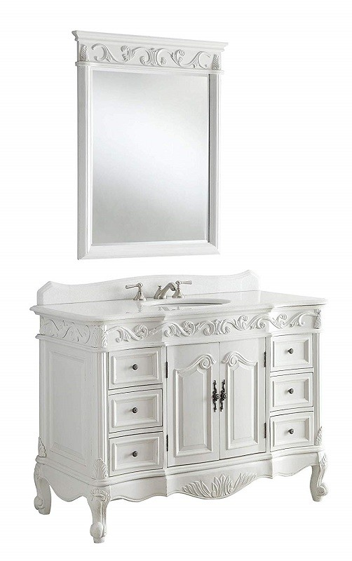 Chans Furniture Cf 3882w Aw 42 Beckham Inch Antique White Bathroom Sink
